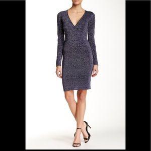Marc NY Glittery Blue Wrap Sweaterdress XL